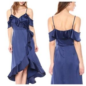 Maggy London Cocktail Satin Navy Dress Size 4 NWT